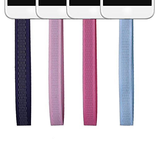 4 Pcs Set Portable Phone Loop Rope- Creative Useful Strap for Phone (Silver silk) by beemean