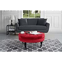Divano Roma Furniture - Round Tufted Velvet Coffee Table with Casters, Ottoman with Wheels (Red)