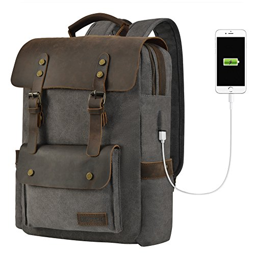 kopack Canvas Laptop Backpack USB Charging 15.6 Inch Vintage Retro Genuine Leather College Backpack Laptop Bags