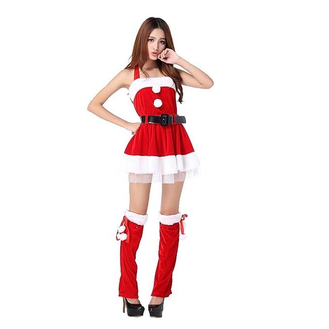 WanYang Sexy Mujeres Trajes Para Navidad Cosplay Santa Vestido Para Mujer Rojo Hombro Desnudo De Disfraz