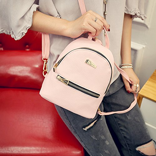 Comficent Backpacks Pu Leather Women Handbags Casual College Small Tablet With Adjustable Strap Pink