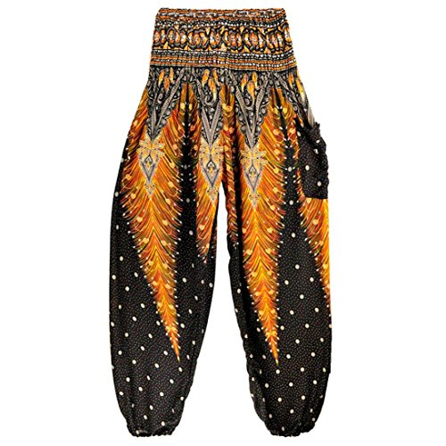 Men Women Thai Harem Trousers Boho Festival Hippy Smock High Waist Yoga Pants ()