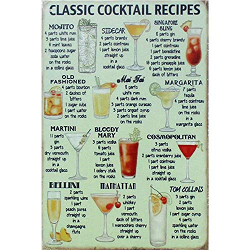 YOMIA 3020cm Poster Vintage Metal Signs Tin Plate Sign Bar Mural Decoration Art Wall Poster Hall Garage Cafe Metal Wall Signs Small Metal Plaques-Classic Cocktail Recipes
