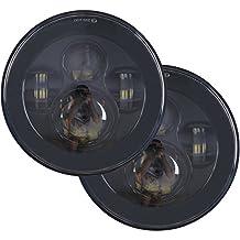 7 inch Round LED Headlights Bulb Set Kit Projector DOT 6000K Off-Road for Jeep Wrangler JK LJ JKU TJ Sahara Rubbicon Unlimited Hummer H1 H2 Land Rover Defender Front Light Headlamp Black 2 PCS