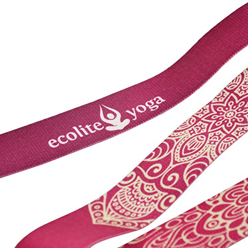EcoliteYoga Printed Cotton Yoga Strap 6 feet with Metal D-Ring, Luxury design, premimum Quality, Best yoga straps for stretching, flexibility and traction. (Magenta, 6))