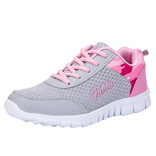 Laufschuhe Damen, Sonnena Frauen Mode Flat Lace Up Knöchel Schuhe Turnschuhe Damen Outdoor Bequem Gym Trainer Sneaker Joggingschuhe Ultra-Light Schuhe Rose@