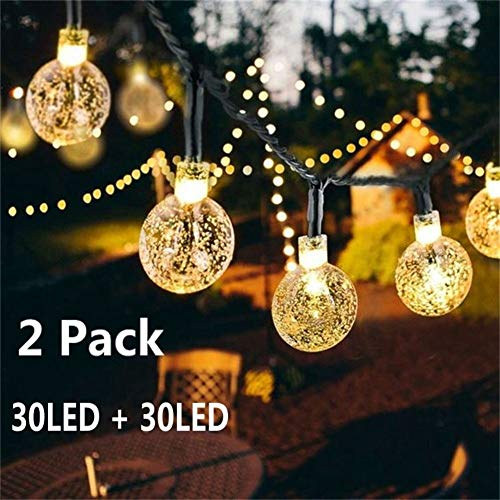 Solar Globe String Lights 30 LED 19.8ft Outdoor Crystal Ball Christmas Decoration Light Waterproof Solar Patio Lights Decorative for Xmas Tree Garden Home Lawn Wedding Party Holiday (2PACK-Warm White) (Solar String Lights Globe)