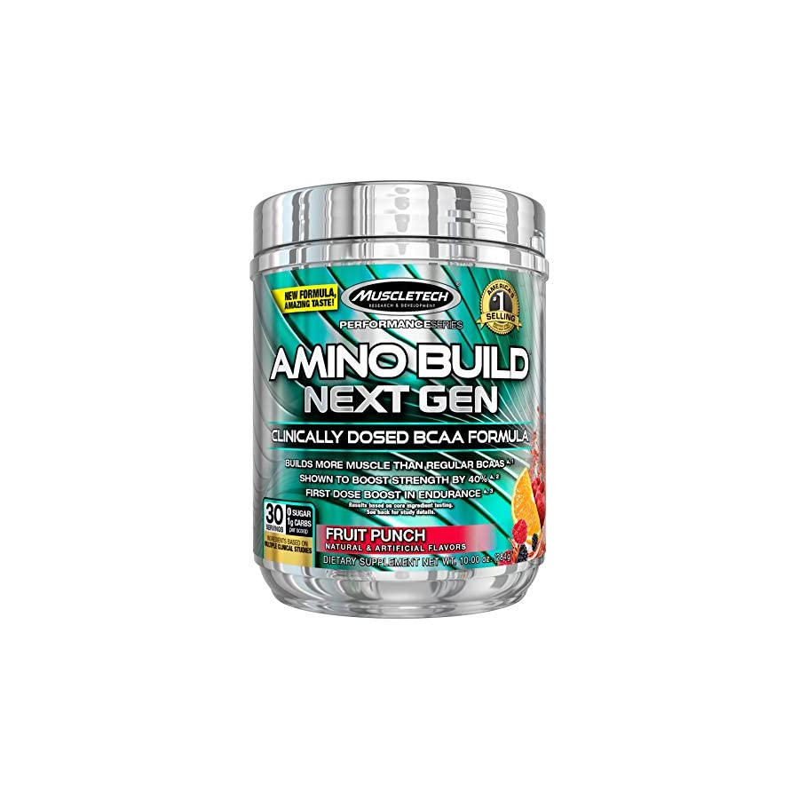MuscleTech Amino Build Next Gen, Clinically Dosed, Performance Enhancing BCAA Formula with Betaine, Fruit Punch, 10oz (284g)