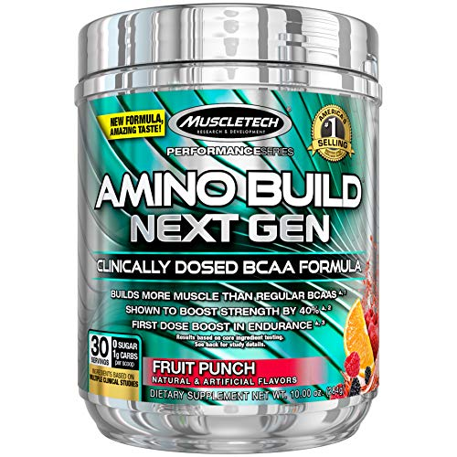 - MuscleTech Amino Build Next Gen Energy Supplement, Formulated with BCAA Amino Acids, Betaine, Vitamin B12 & B6 for Muscle Strength & Endurance, Fruit Punch Splash, 30 Servings (284g)