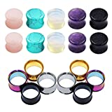 "D&M Jewelry 18pcs 2g-5/8"" Organic Stone & Stainless Steel Mixed Ear Tunnels Stretching Plugs Piercing"