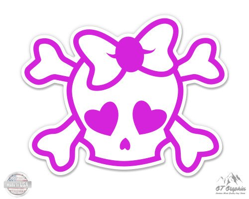 - Pink Skull with Bow Cute Girly - 5