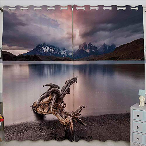 - Justin Harve window Driftwood on The Coast Reflection of The Mountains in The Lake Digital Image Grommet Top Blackout Curtains Set of 2 Panels(100