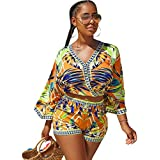 Rompers and Jumpsuits for Women 2 Piece Outfits Bohemian Tops + Shorts Set Yellow