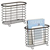 mDesign Decorative Modern Magazine Holder and Organizer Bin - Standing Rack for Magazines, Books, Newspapers, Tablets in Bathroom, Family Room, Office, Den - Steel Wire Design - Pack of 2, Bronze