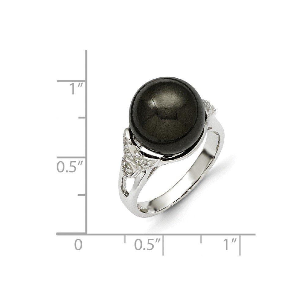 Majestik Sterling Silver Majestik 12-13mm Black Shell Bead and CZ Ring