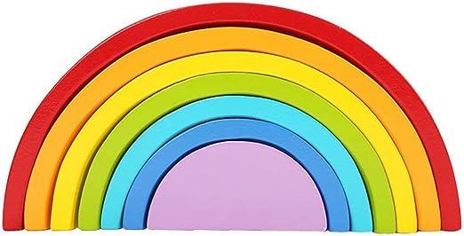 LouiseEvel215 Bloques de Puente de Arco Iris de Siete Colores Bloques educativos de Madera para niños Educación temprana Jenga Juguetes creativos: Amazon.es: Jardín