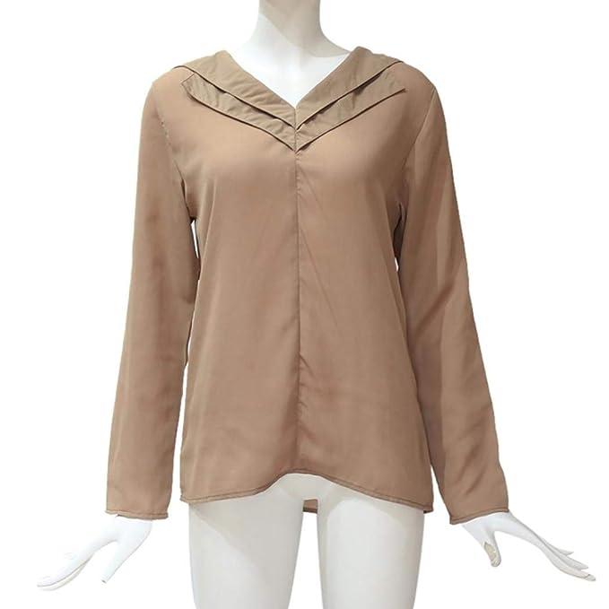 ... Blusa Gasa para Dama Camisas De Mujer Blusones Largas Juveniles Top Cuello En V Boton Tops Camisa Fiesta Elegantes Anchas: Amazon.es: Ropa y accesorios