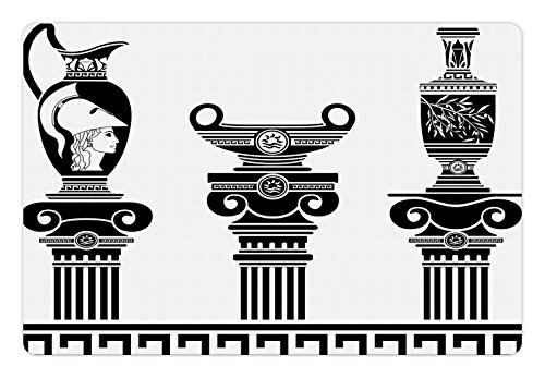 Ambesonne Toga Party Pet Mat for Food and Water, Hellenic Vases and Ionic Columns Artistic Design Amphora Antiquity Culture, Rectangle Non-Slip Rubber Mat for Dogs and Cats, Black and White