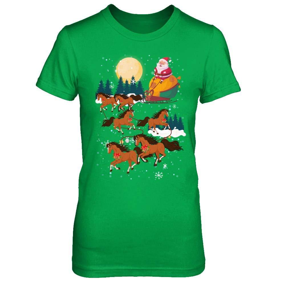 Funny Christmas Horse Reindeer Lover Santa Gift Shirt Short Sleeve Tee