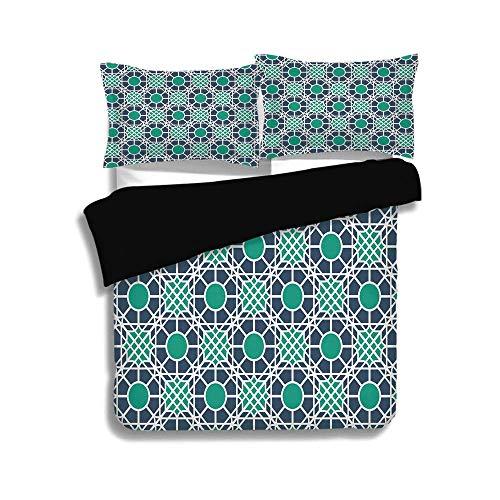 KUDOUXIA Black Duvet Cover Set Queen Size,Geometric,Oriental Mandala Inspired Pattern Motifs Abstract Ornament Design Decorative,Cadet Blue Sea Green White,3 Pcs Bedding Set 2 Pillow Shams