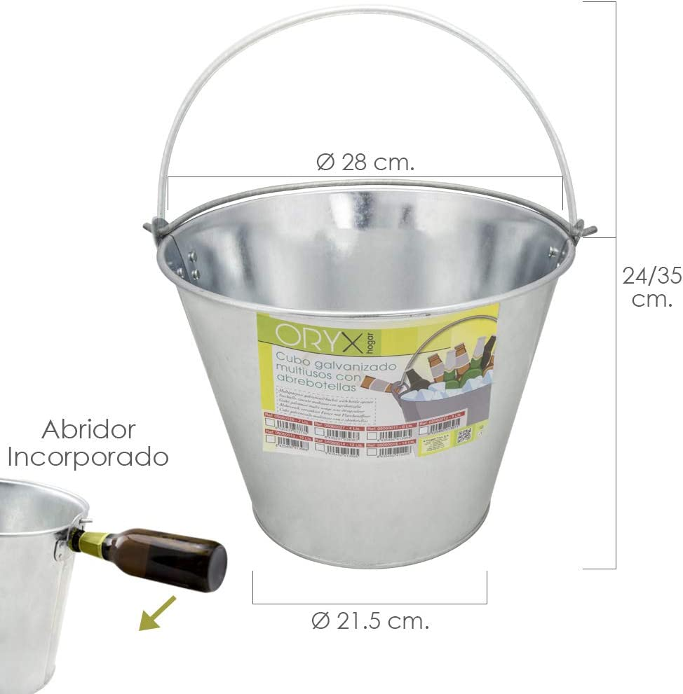Imex El Zorro 5060013 Cubo Zinc Metal Galvanizado Multiusos 10 Litros 28 x 21.5 x 24 (alt.) cm. con Abre Botellas, Plateado