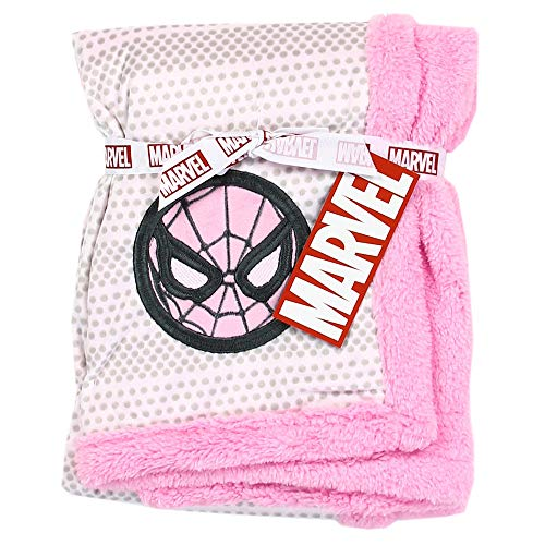 Spiderman Super Soft Mink/Sherpa Girls Baby Blanket. 30 inch x 30 inch. Pink]()