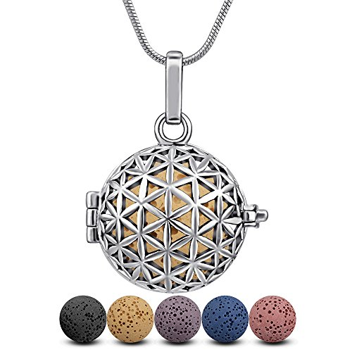 Lava Stone Diffuser Necklace Aromatherapy Essential Oil Infuser Locket Flower of Life Design Pendant and 6PCS Multi-Colored Rock Beads with 24