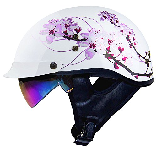 Pink Shell Reviews (Voss 888FRP Gloss White Sakura Pink Ribbon Half Helmet with Integrated Sun Lens Metal Quick Release and New Pink Iridium Sun Lens- L - Gloss White/ Pink)