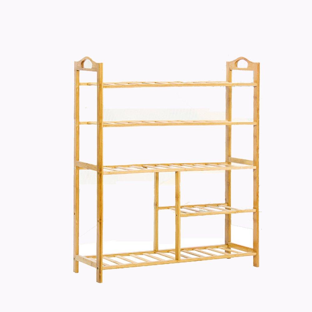 Ripiano per fiori HUO Bamboo Shelf, Simple Flower Stand, Mensola di Conservazione Multifunzionale Ecologica Naturale, Scarpiera (Dimensioni   80  26  90)