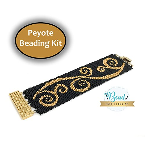 DIY Beading Kit - Gold Swirls Beaded Bracelet, Peyote Bracelet, Beading Patterns, Peyote Pattern, DIY Kit, All Supplies Included (Bead Peyote Bracelet)