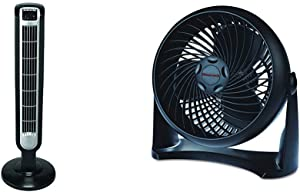 Lasko 2511 36″ Tower Fan with Remote Control - Features 3 Whisper Quiet Speeds and Built-in Timer & Honeywell HT-900 TurboForce Air Circulator Fan Black