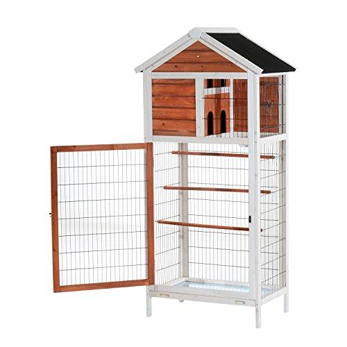 Pawhut 64 Vertical Outdoor Aviary Bird Cage - White/Dark Bro