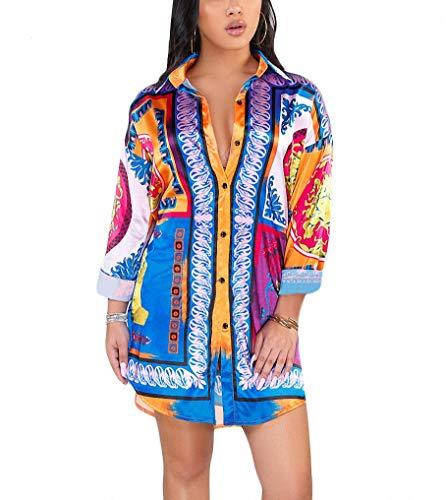 Remelon Womens Color Block Print Button Down Collar Long Shirt Dress Blouse Mini Dress Multi M (Mini Button Boyfriend)