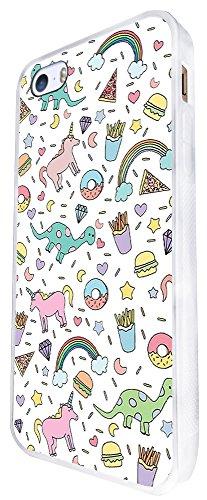 1047 - Cool Fun Cute Unicorn Dinosaur Fast Food Junk Food Fries Donut Burger Pizza Diamond Doodle Drawing Design iphone SE - 2016 Coque Fashion Trend Case Coque Protection Cover plastique et métal - B