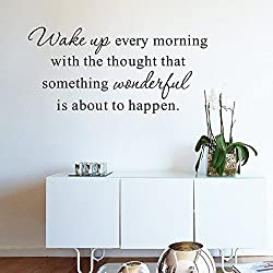 ufengke home Inspirational Wake Up Every Morning Quotes Wall Art Stickers Motivational Words Letters Decorative Removable DIY Vinyl Wall Decals Living Room, Bedroom Mural