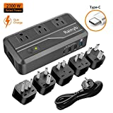 Rainyb 2300W Step Down 220V to 110V Voltage Converter/Travel Adapter Transformer Type-C,3 USB Ports,3 AC Outlets UK/AU/US/EU/IT/S.Africa Plug Adapter, Power Converter Hair Dryer