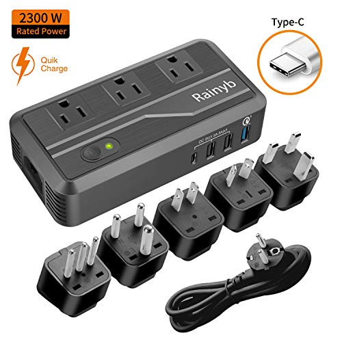 Rainyb 2300W Voltage Converter with Type-C & 3 USB Ports,Step Down 220V to 110V Power Converter for Hair Dryer,International Travel Adapter for UK/AU/US/EU/IT/S.Africa Plug (2300W-Upgraded)