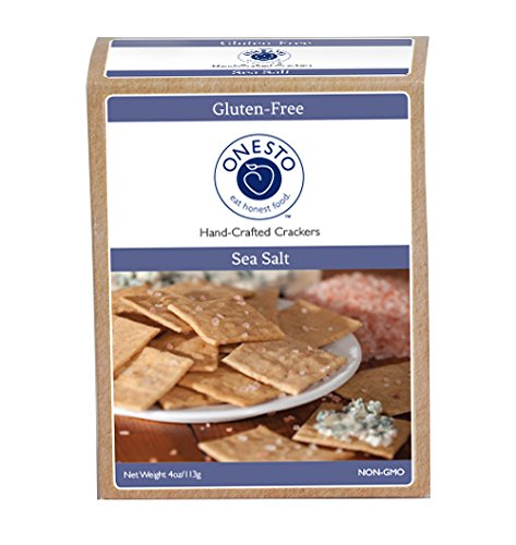 Onesto Foods Gluten-Free, Vegan, Non-GMO Artisan Crackers, Sea Salt (Pack of 3)