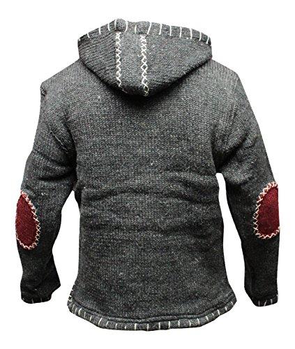 CROIX fermeture éclair encolure SUPER chaud tricot style Pull-over, hippie boho laine capuche