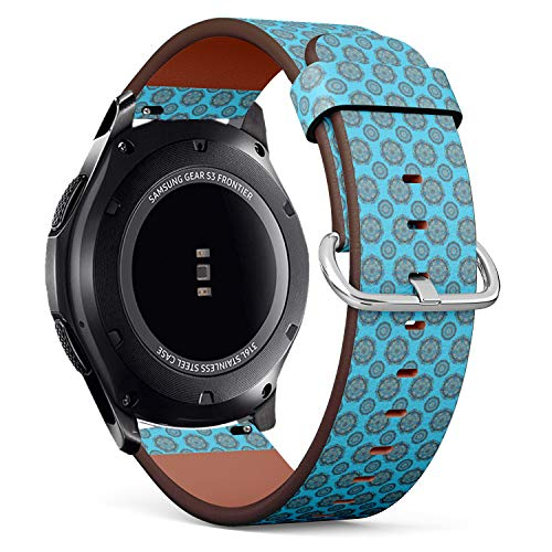 (Compatible with Samsung Gear S3 Frontier/Classic - 22mm Quick-Release Leather Band Bracelet Strap Wristband Replacement - Decorative Design Filigree Calligraphy)