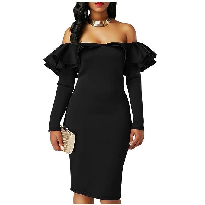 Doble Capa Volantes Escote Midi Vestidos Para Mujeres Color Sólido Sin tirantes Fiesta Vestido de Noche
