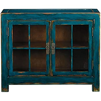 Ordinaire Ethan Allen Ming Small Media Cabinet, Aged Teal