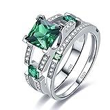 Merthus Womens 925 Sterling Silver Created Emerald Princess Wedding Bridal Ring Sets