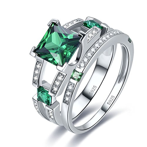 (Merthus 925 Sterling Silver Wedding Band Princess Cut Synthetic Emerald Bridal Rings Sets for Women)
