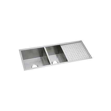 Elkay Crosstown EFU471810DBT 60/40 Double Bowl Undermount Stainless Steel  Sink With Drainboard