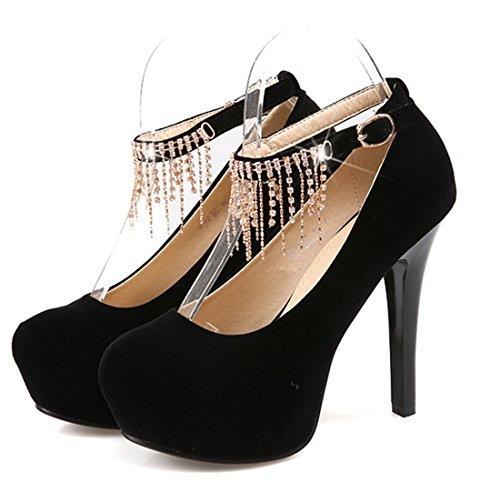 YE Damen Knöchelriemchen Glitzer High Heels Plateau Stiletto Pumps mit Schnallen und Strass Runde Spitze Geschlossen Elegant Party Schuhe Schwarz
