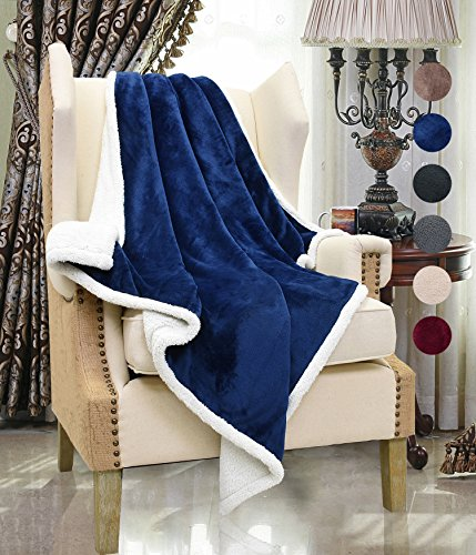 Sherpa Throws Blanket,Super Soft Comfy Micro Mink Fleece Plush Couch Blanket Reversible Bed Throw TV Blanket, Comfort Caring Gift Blue 50 x (Wal Mart Toddler Beds)