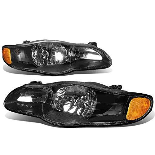 Chevy Monte Carlo 6th Gen v6 Pair of Black Housing Amber Corner Headlight Lamp Assembly (Black Headlights Corner Lights)