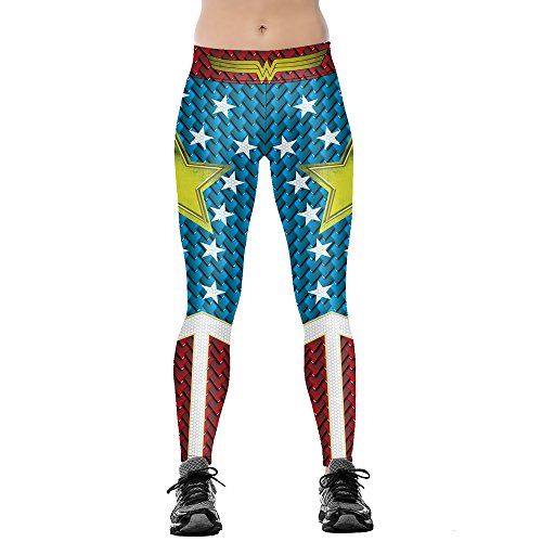 JORYEE Women's Wonder Women Star Printe Funny Costume Tight Leggings XL Blue Red
