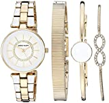 Anne Klein Women's AK/3286WTST Swarovski Crystal Accented Gold-Tone and White Watch and Bracelet